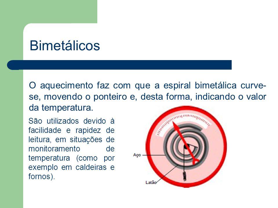 BimetálicosO aquecimento faz com que a espiral bimetálica curve-se, movendo o ponteiro e, desta forma, indicando o valor da temperatura.