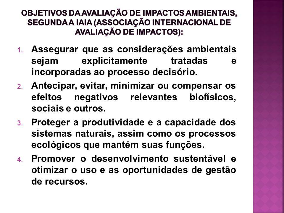 Objetivos da avaliação de impactos ambientais, segunda a IAIA (Associação Internacional de Avaliação de Impactos):