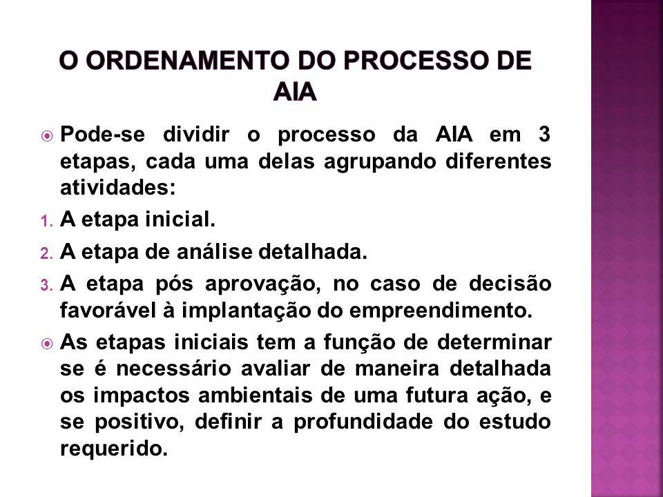 O ORDENAMENTO DO PROCESSO DE AIA