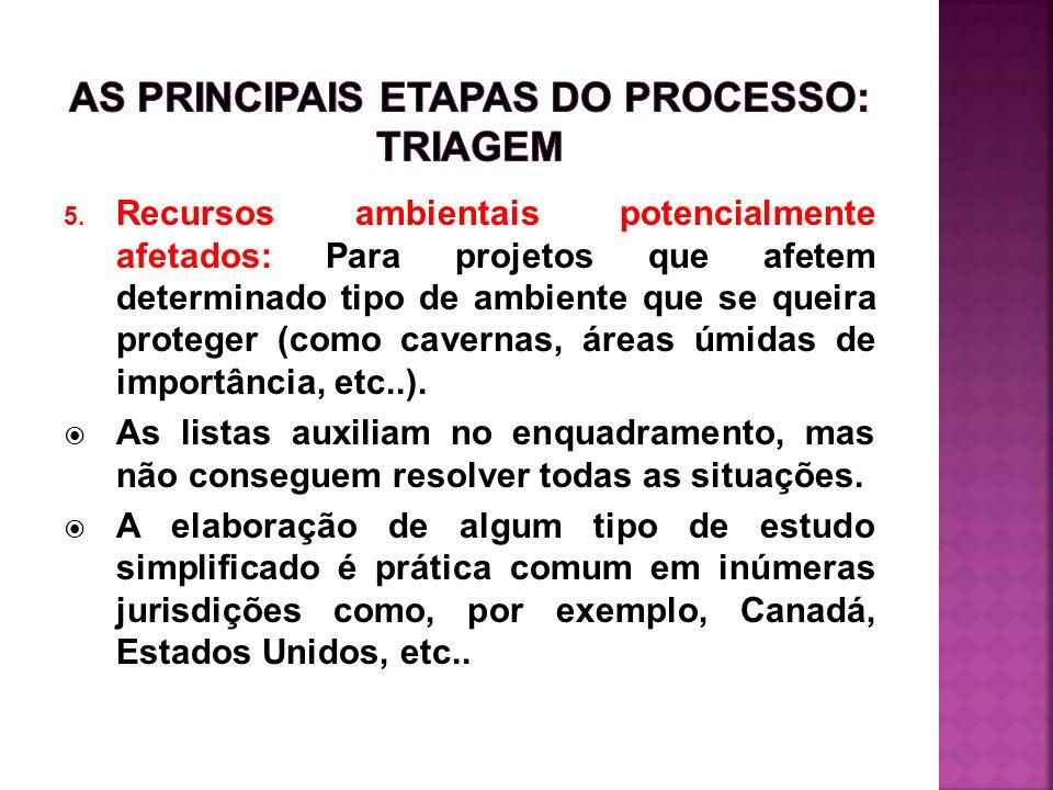 As principais etapas do processo: triagem