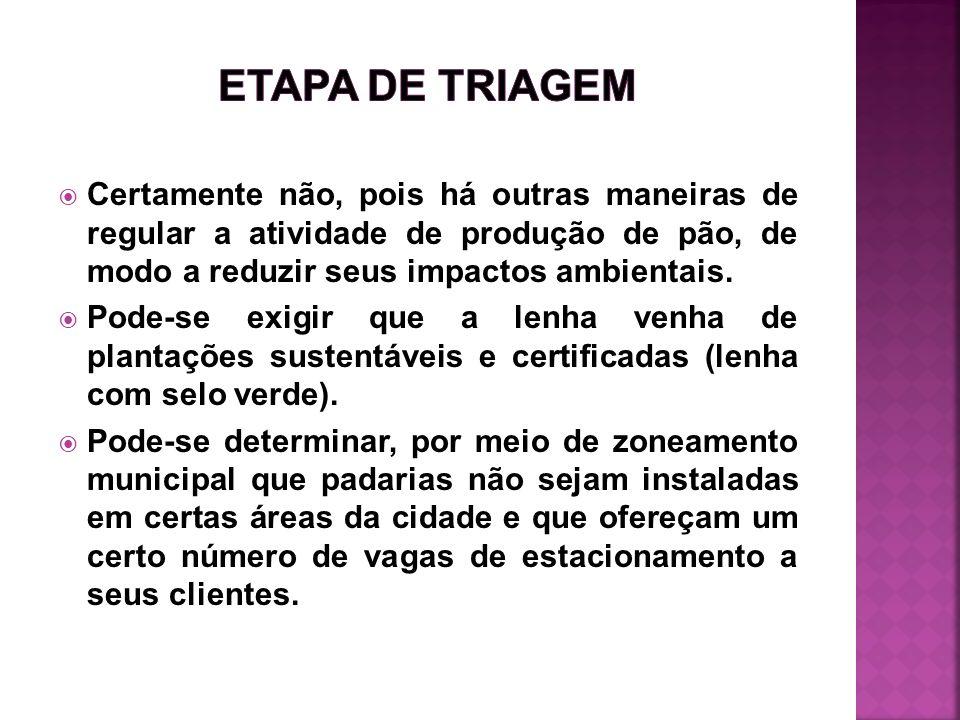 ETAPA DE TRIAGEMCertamente não, pois há outras maneiras de regular a atividade de produção de pão, de modo a reduzir seus impactos ambientais.
