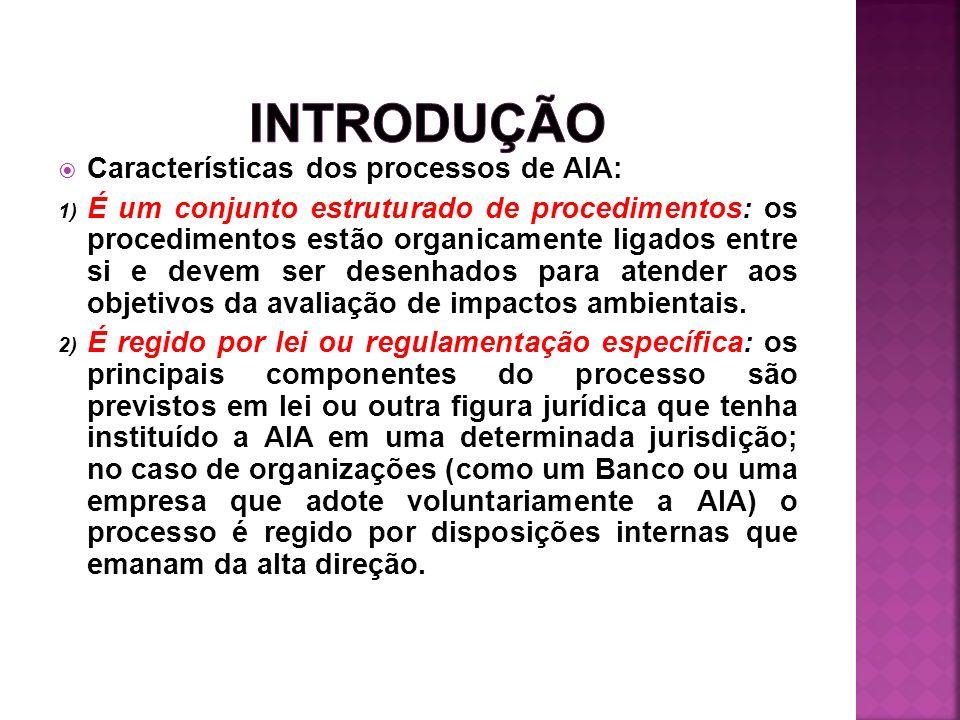 INTRODUÇÃO Características dos processos de AIA: