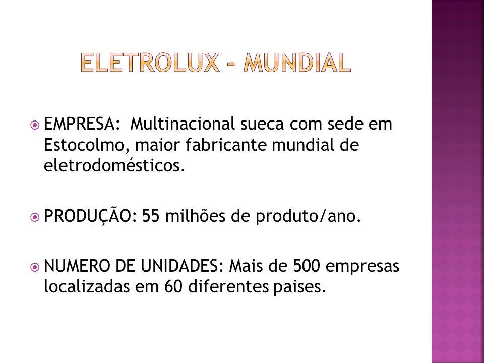 ELETROLUX - MUNDIAL EMPRESA: Multinacional sueca com sede em Estocolmo, maior fabricante mundial de eletrodomésticos.