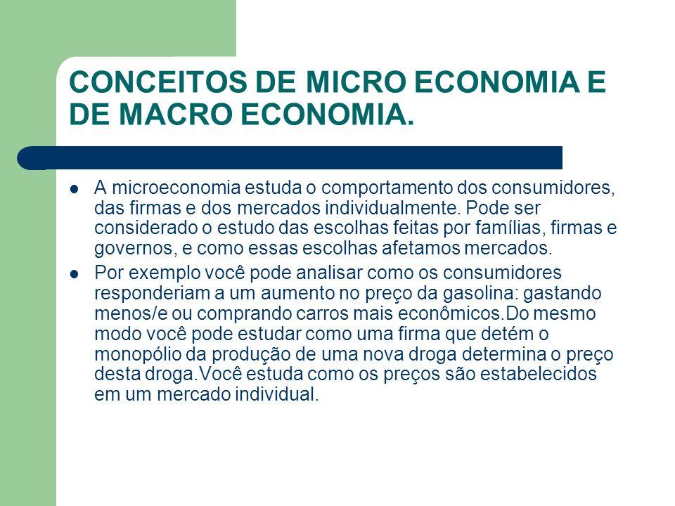 CONCEITOS DE MICRO ECONOMIA E DE MACRO ECONOMIA.