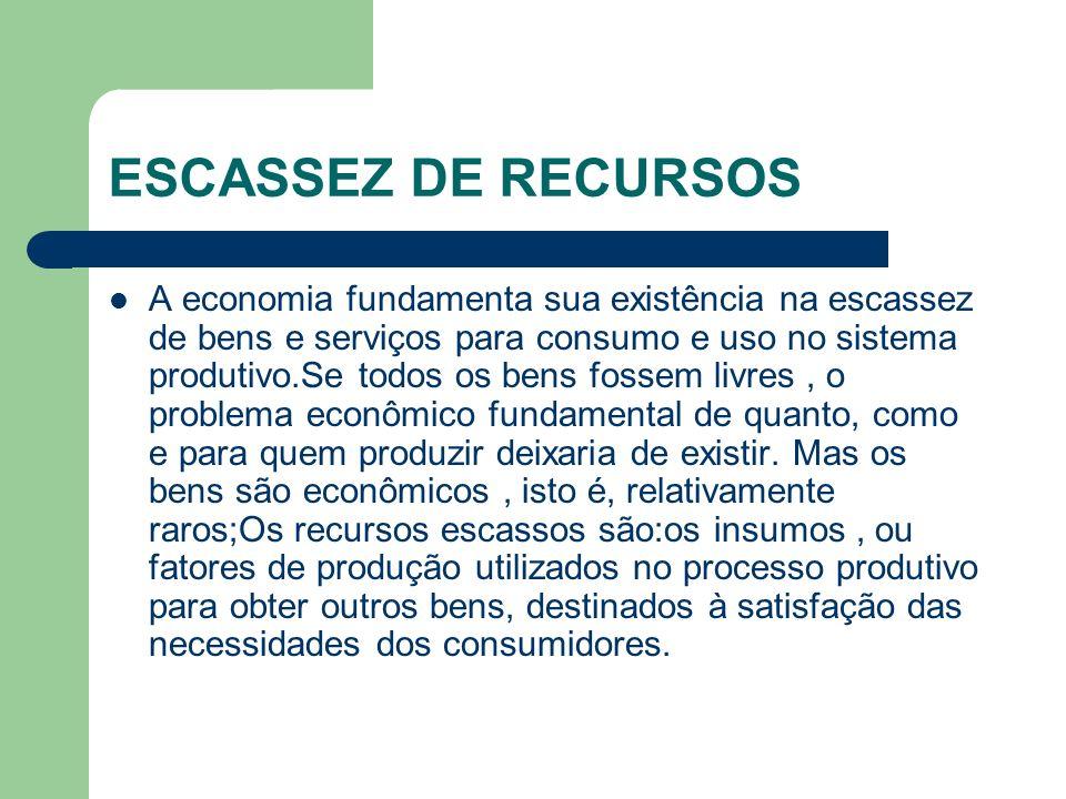 ESCASSEZ DE RECURSOS