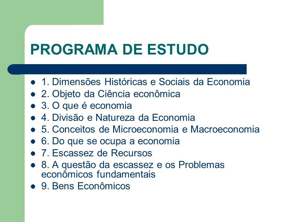 PROGRAMA DE ESTUDO 1. Dimensões Históricas e Sociais da Economia
