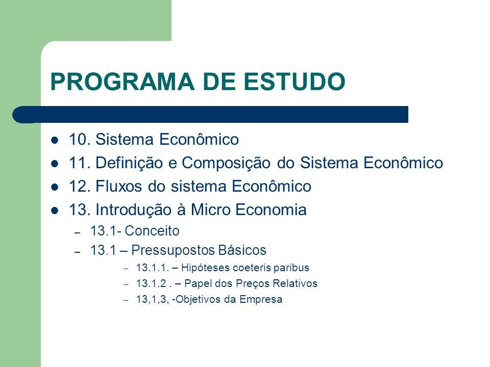 PROGRAMA DE ESTUDO 10. Sistema Econômico