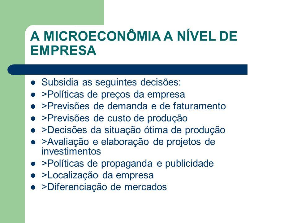 A MICROECONÔMIA A NÍVEL DE EMPRESA