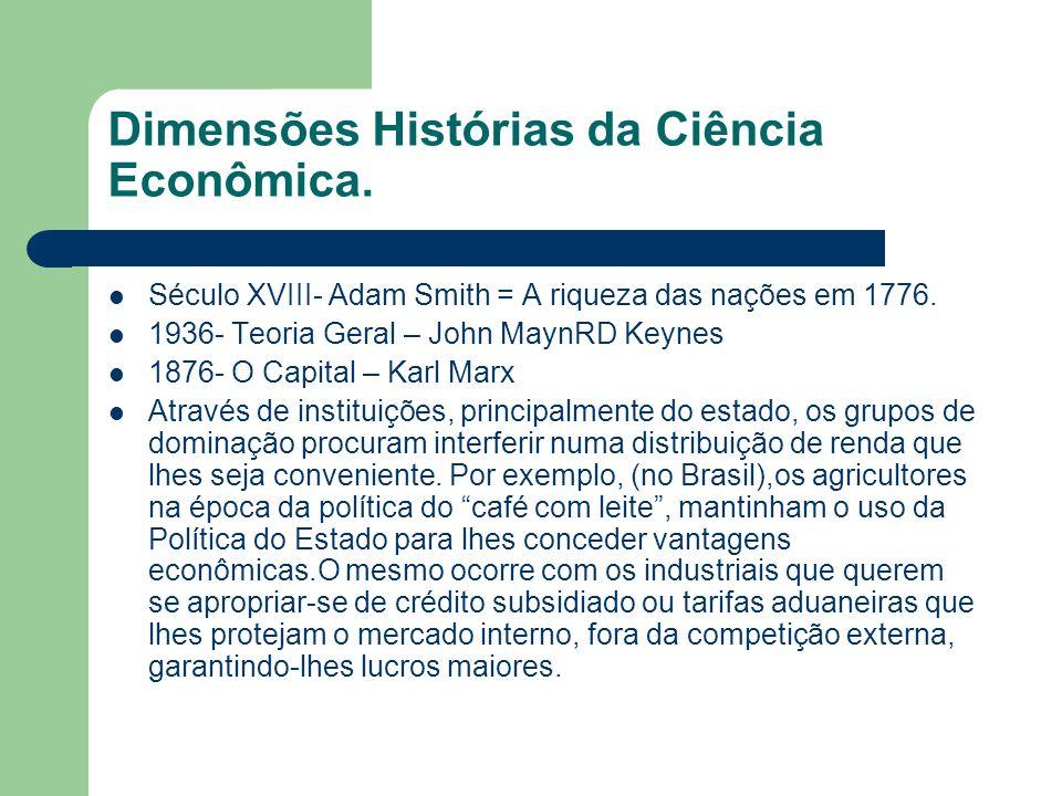 Dimensões Histórias da Ciência Econômica.