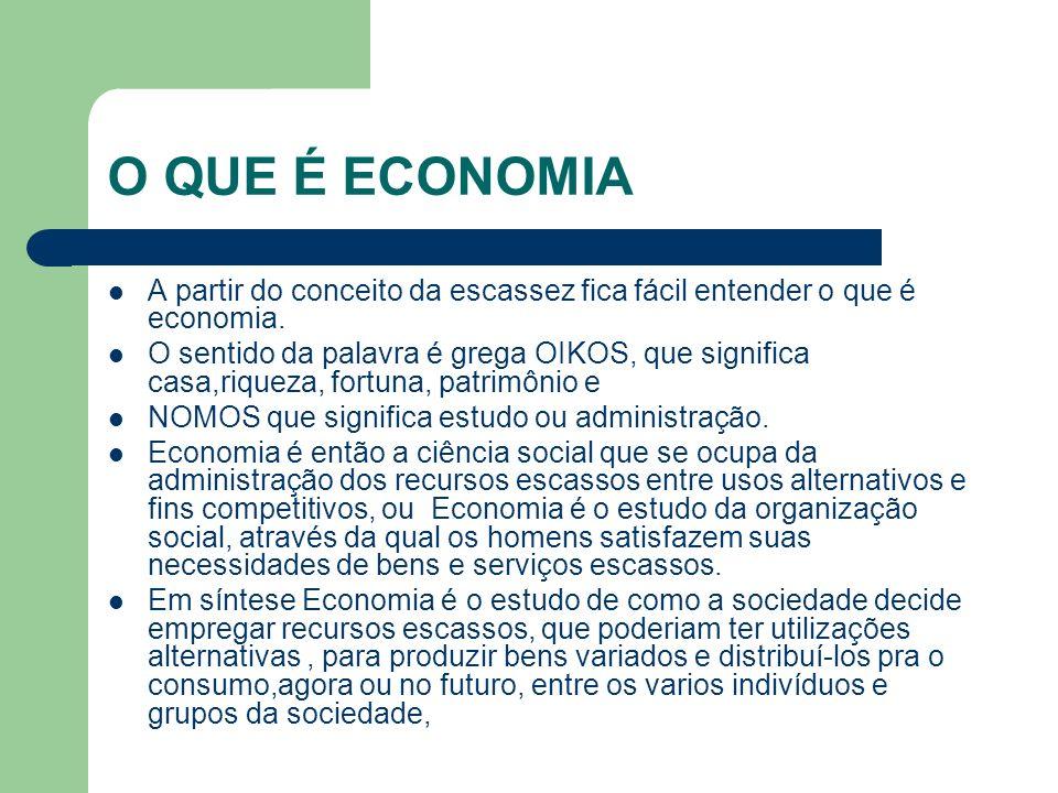 O QUE É ECONOMIAA partir do conceito da escassez fica fácil entender o que é economia.