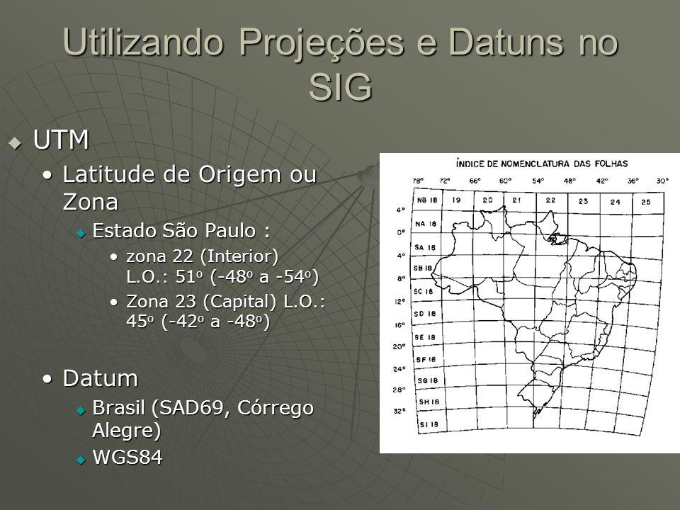 Utilizando Projeções e Datuns no SIG