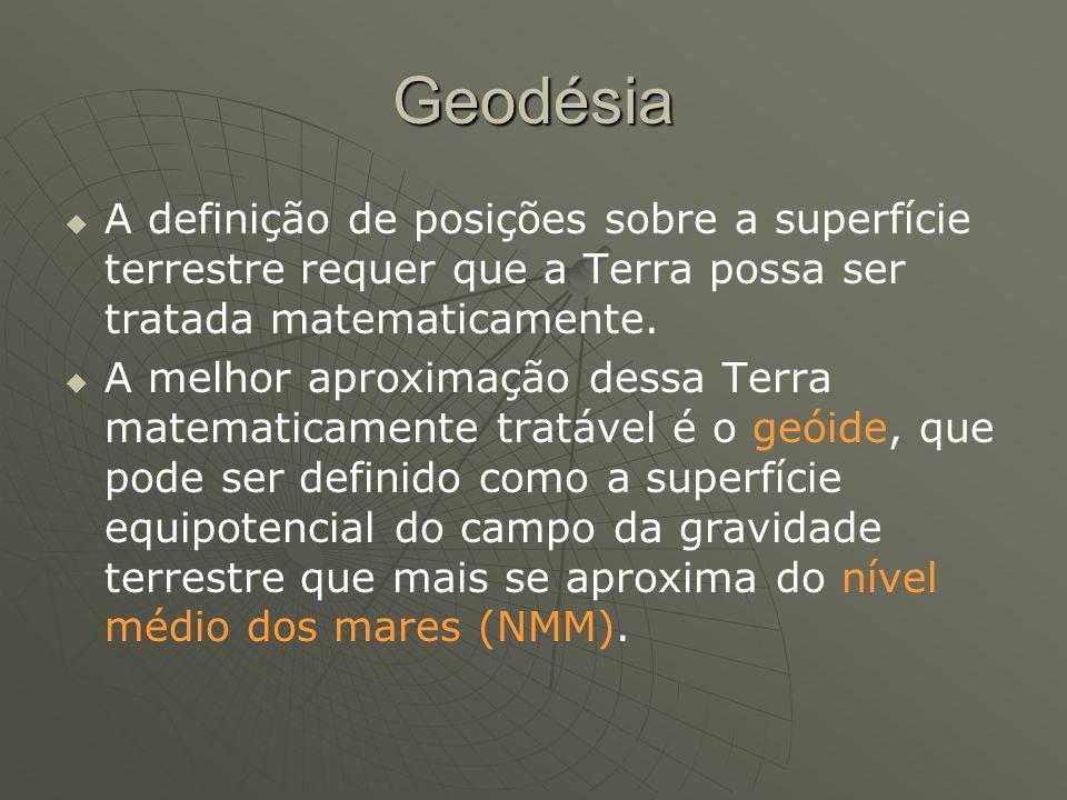 Geodésia A definição de posições sobre a superfície terrestre requer que a Terra possa ser tratada matematicamente.