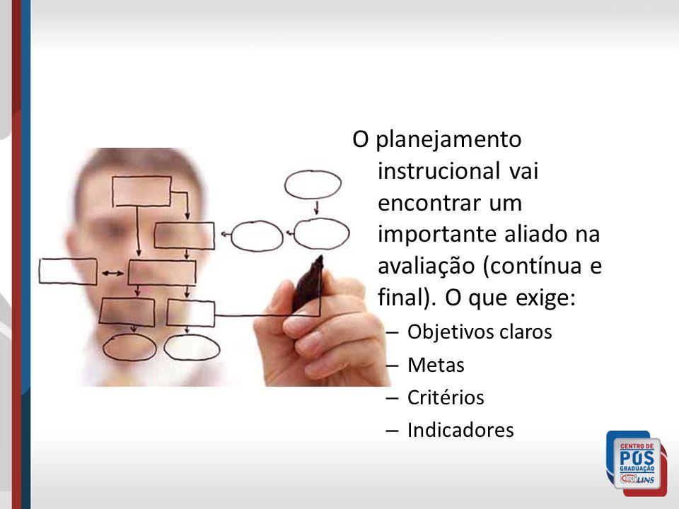 O planejamento instrucional vai encontrar um importante aliado na avaliação (contínua e final). O que exige: