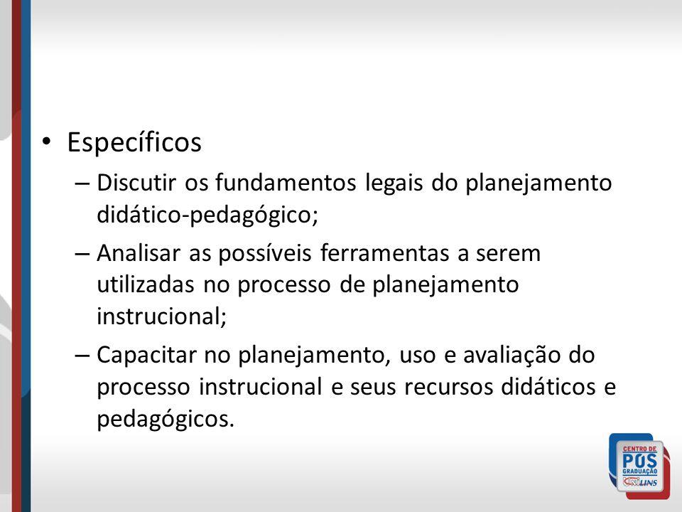 EspecíficosDiscutir os fundamentos legais do planejamento didático-pedagógico;