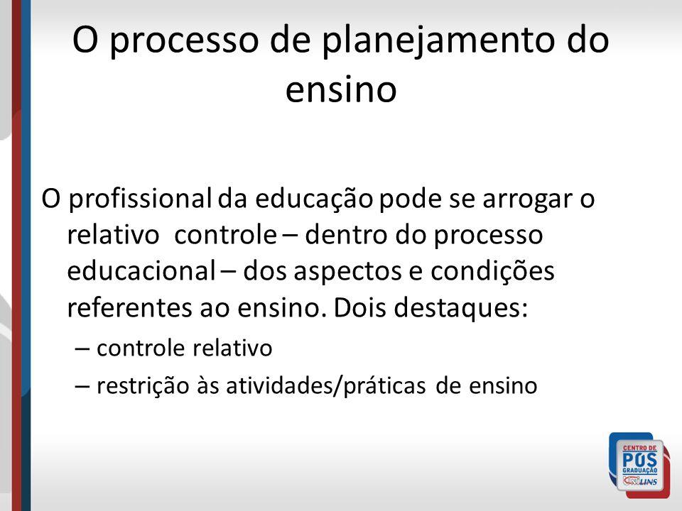 O processo de planejamento do ensino