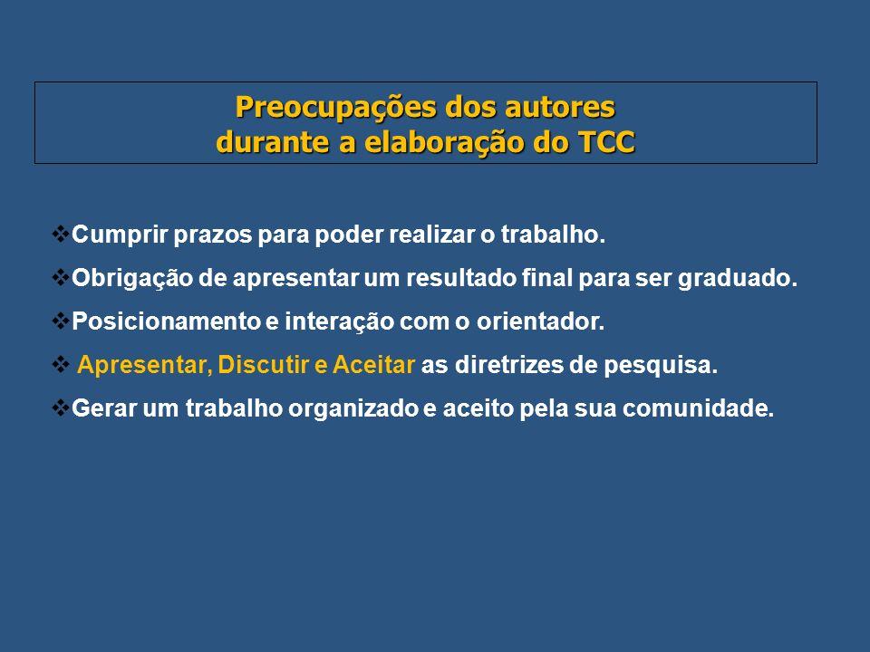 Preocupações dos autores durante a elaboração do TCC