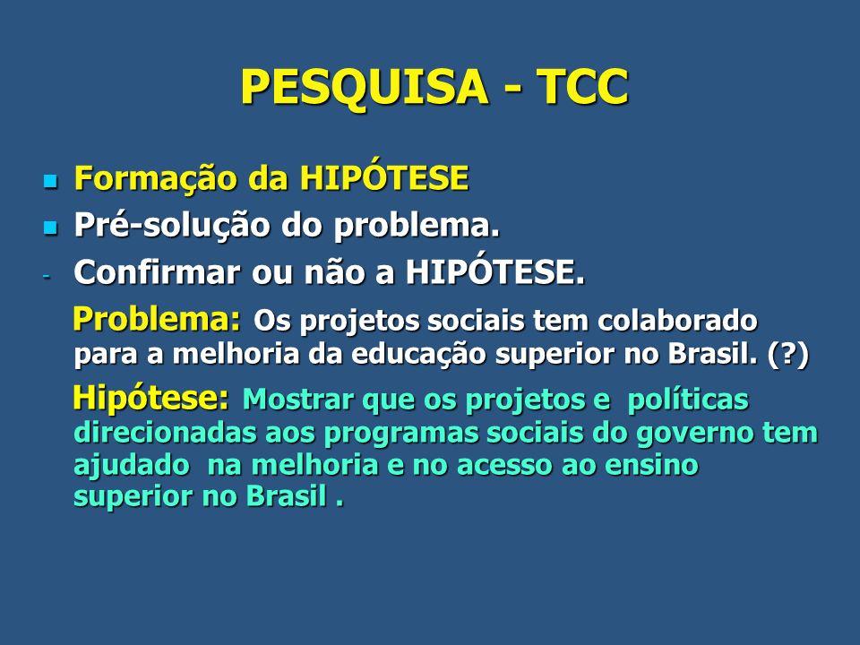 PESQUISA - TCC Formação da HIPÓTESE Pré-solução do problema.