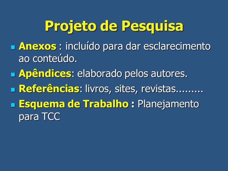 Projeto de Pesquisa Anexos : incluído para dar esclarecimento ao conteúdo. Apêndices: elaborado pelos autores.