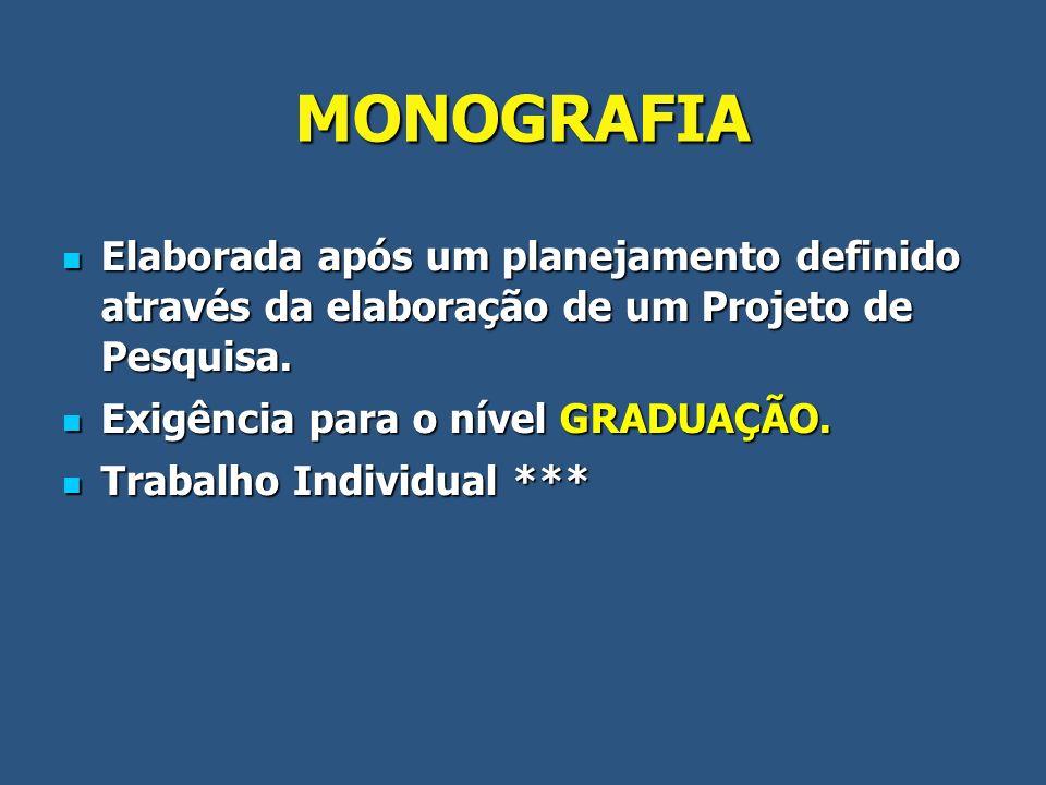 MONOGRAFIA Elaborada após um planejamento definido através da elaboração de um Projeto de Pesquisa.
