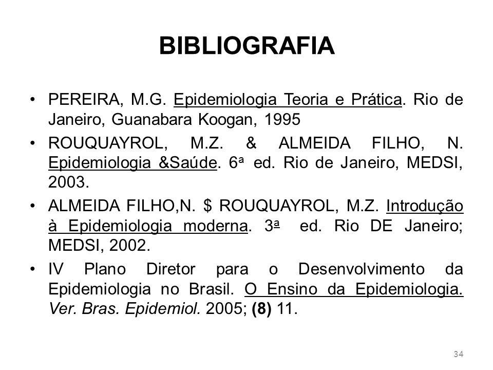BIBLIOGRAFIAPEREIRA, M.G. Epidemiologia Teoria e Prática. Rio de Janeiro, Guanabara Koogan, 1995.