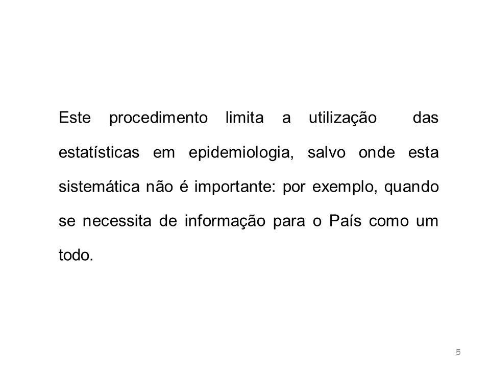 Este procedimento limita a utilização das estatísticas em epidemiologia, salvo onde esta sistemática não é importante: por exemplo, quando se necessita de informação para o País como um todo.