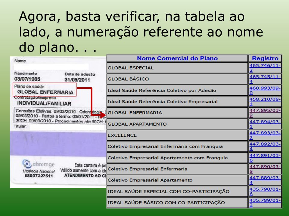 Agora, basta verificar, na tabela ao lado, a numeração referente ao nome do plano. . .