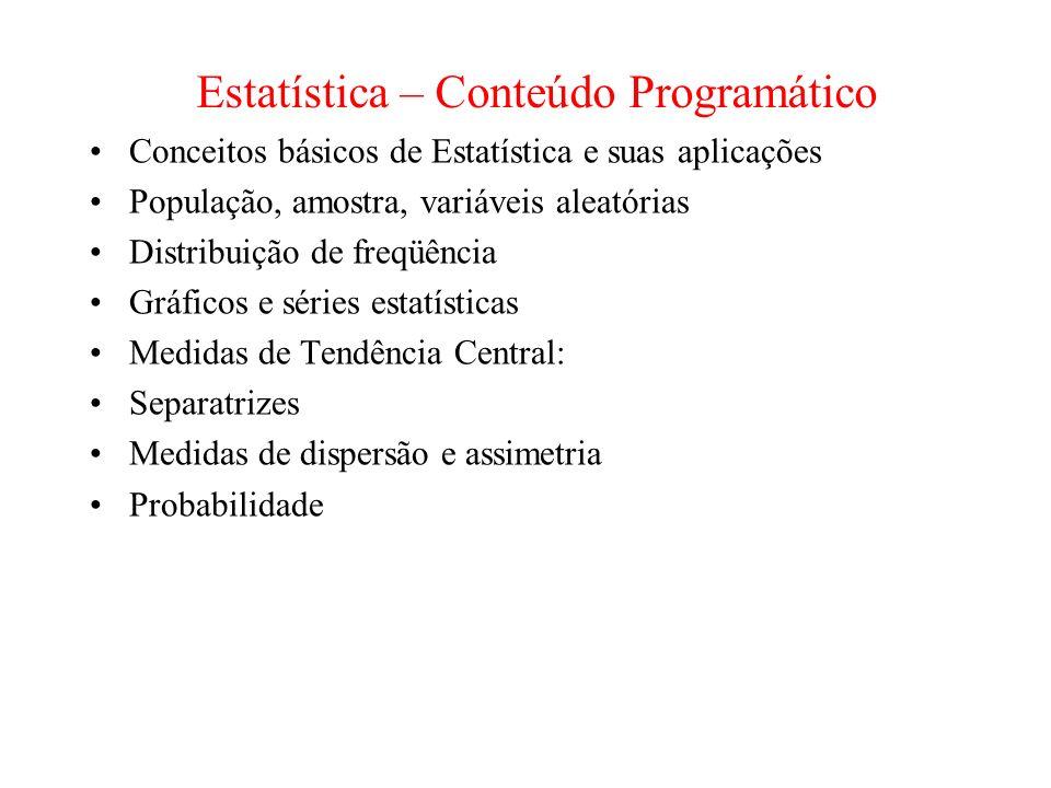 Estatística – Conteúdo Programático
