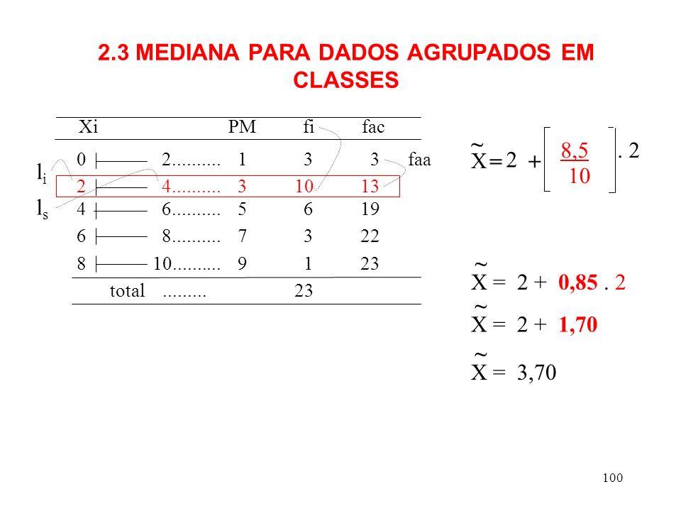2.3 MEDIANA PARA DADOS AGRUPADOS EM CLASSES