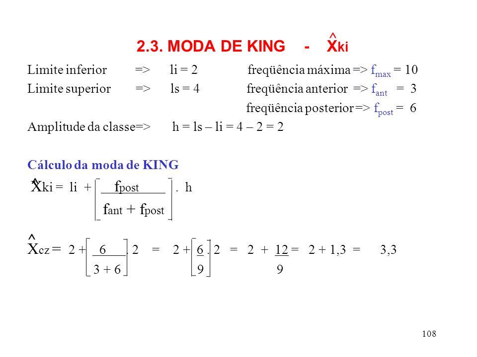 2.3. MODA DE KING - Xki ^ Limite inferior => li = 2 freqüência máxima => fmax = 10.