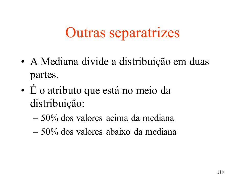 Outras separatrizes A Mediana divide a distribuição em duas partes.