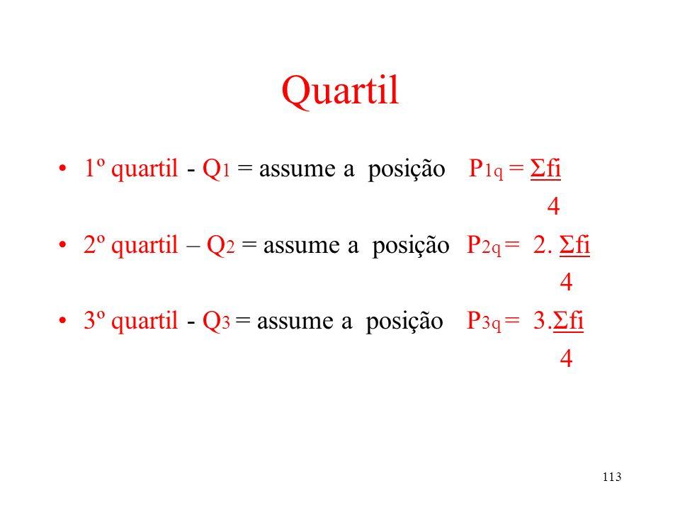 Quartil 1º quartil - Q1 = assume a posição P1q = Σfi 4