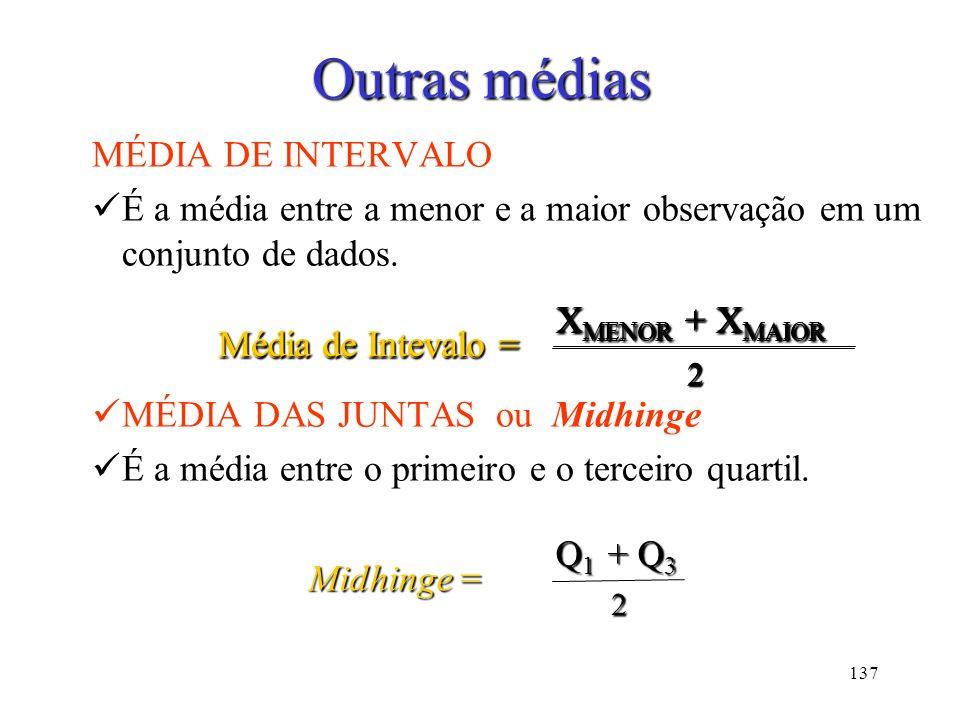 Outras médias Outras médias MÉDIA DE INTERVALO