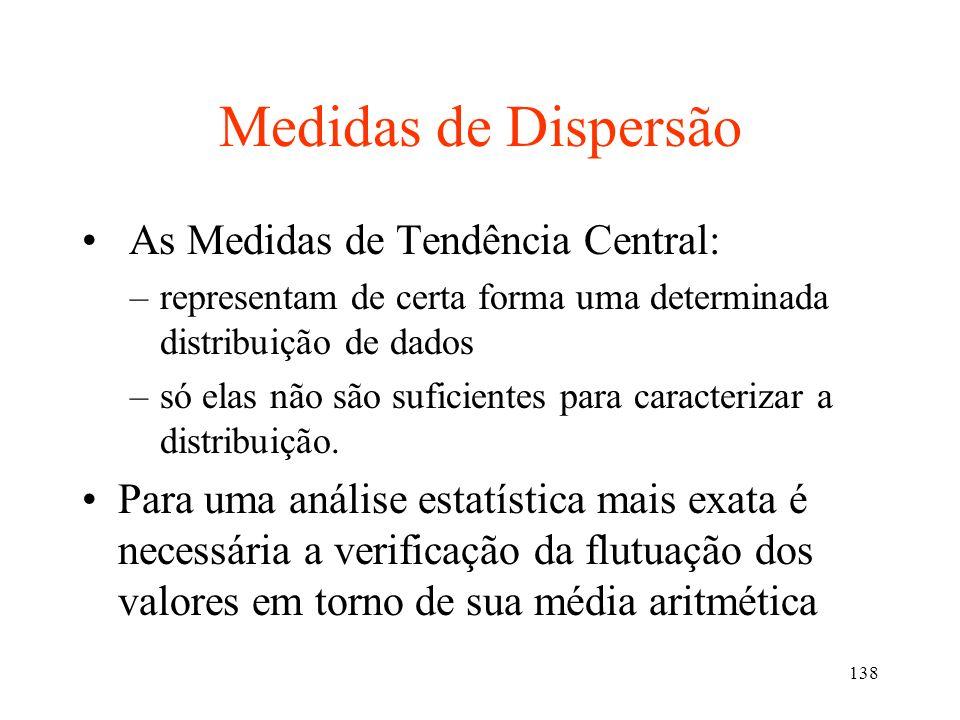 Medidas de Dispersão As Medidas de Tendência Central: