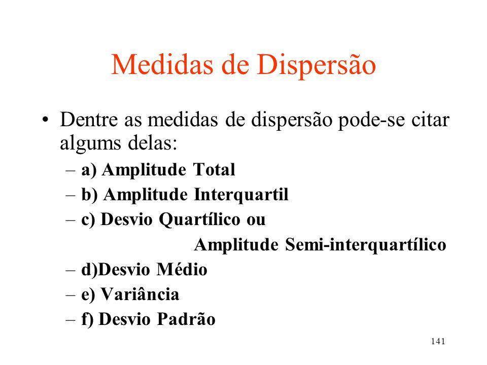 Medidas de DispersãoDentre as medidas de dispersão pode-se citar algums delas: a) Amplitude Total. b) Amplitude Interquartil.
