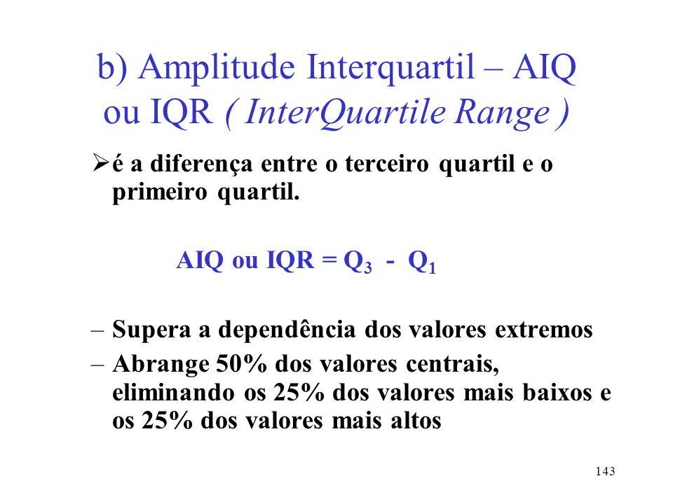 b) Amplitude Interquartil – AIQ ou IQR ( InterQuartile Range )