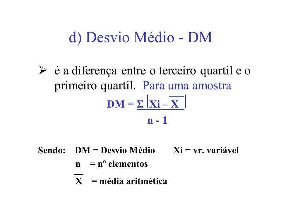 d) Desvio Médio - DM é a diferença entre o terceiro quartil e o primeiro quartil. Para uma amostra.