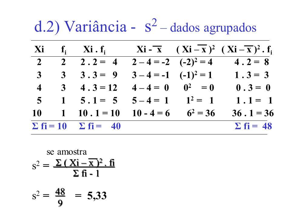 d.2) Variância - s2 – dados agrupados