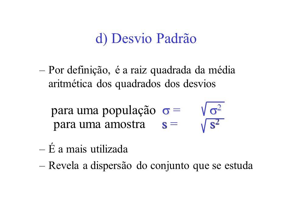 d) Desvio Padrão para uma população  = 2 para uma amostra s = s2