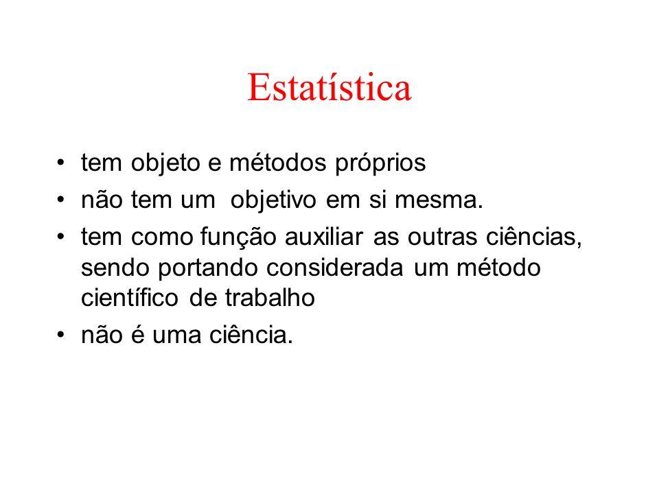 Estatística tem objeto e métodos próprios