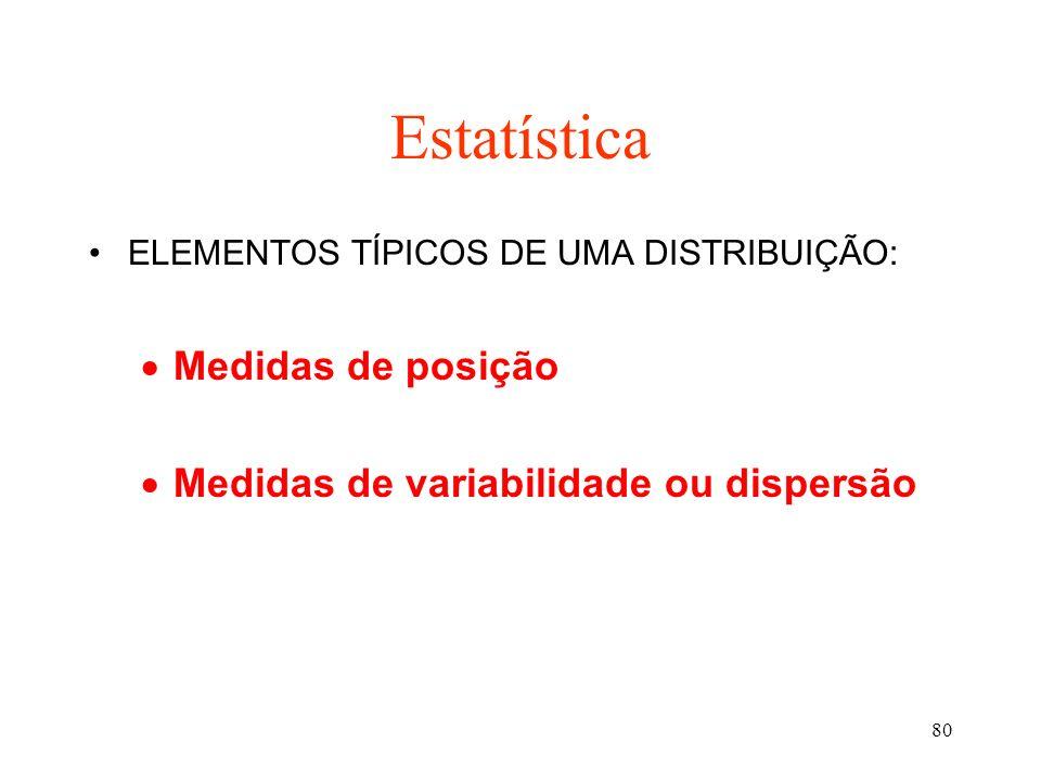 Estatística Medidas de posição Medidas de variabilidade ou dispersão