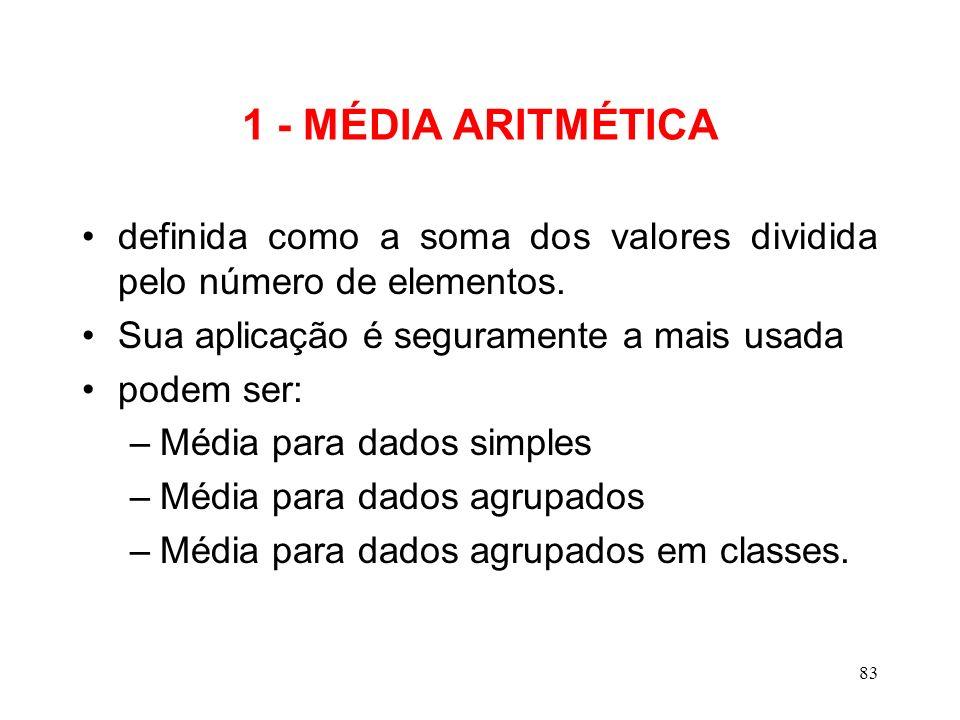 1 - MÉDIA ARITMÉTICA definida como a soma dos valores dividida pelo número de elementos. Sua aplicação é seguramente a mais usada.