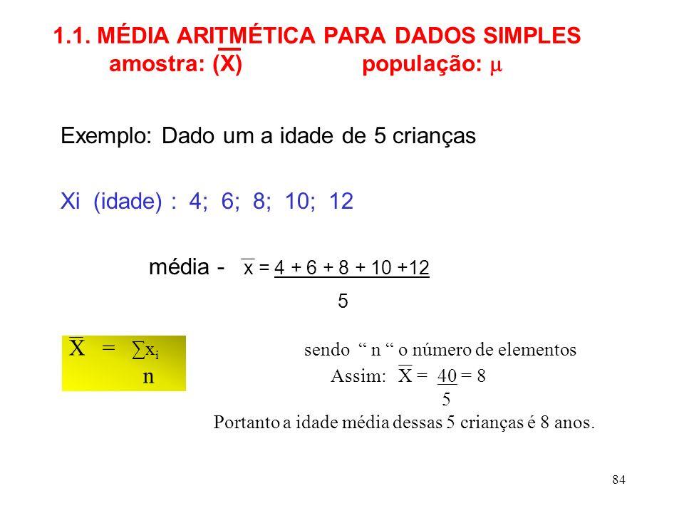 1.1. MÉDIA ARITMÉTICA PARA DADOS SIMPLES amostra: (X) população: 