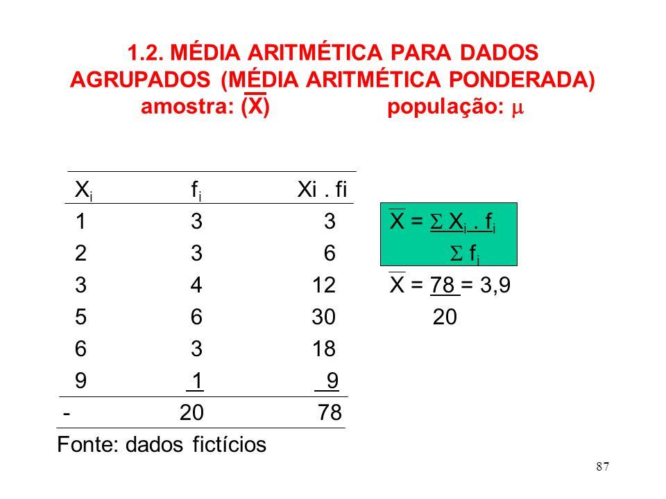 1.2. MÉDIA ARITMÉTICA PARA DADOS AGRUPADOS (MÉDIA ARITMÉTICA PONDERADA) amostra: (X) população: 