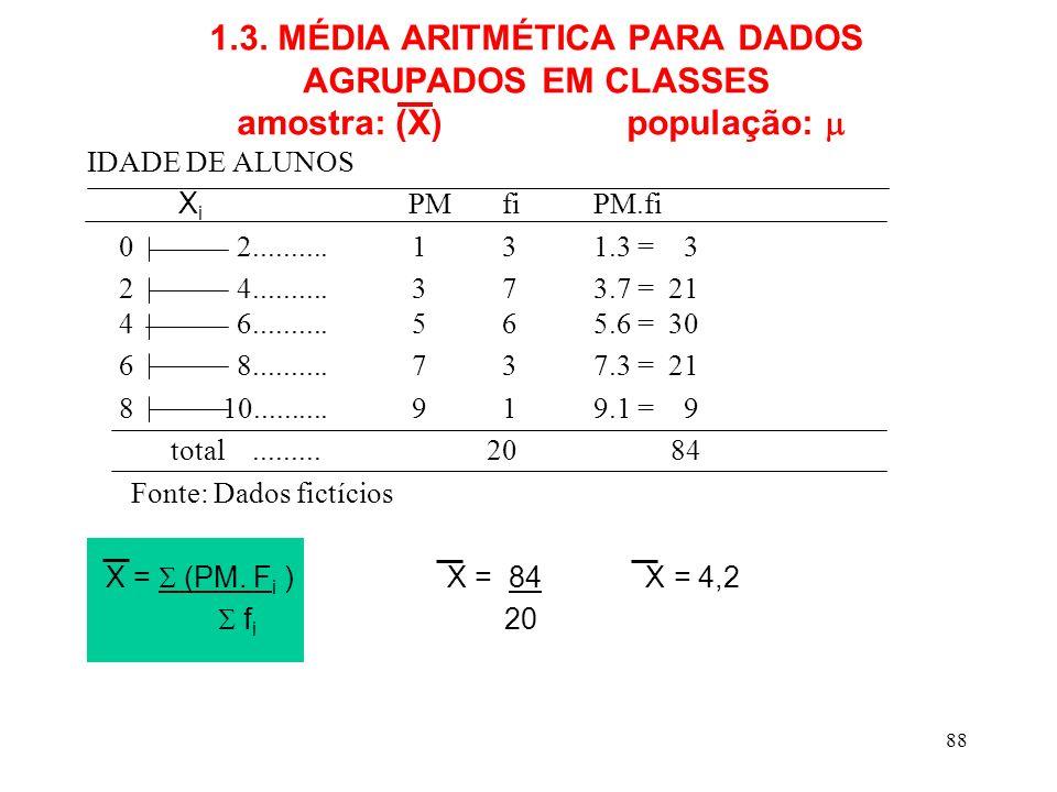 1.3. MÉDIA ARITMÉTICA PARA DADOS AGRUPADOS EM CLASSES amostra: (X) população: 