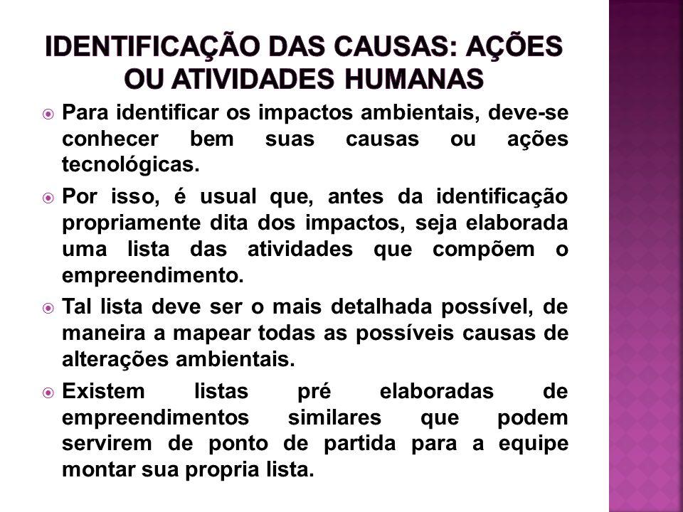 IDENTIFICAÇÃO DAS CAUSAS: AÇÕES OU ATIVIDADES HUMANAS