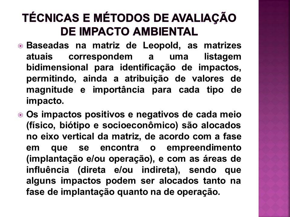 TÉCNICAS E MÉTODOS DE AVALIAÇÃO DE IMPACTO AMBIENTAL