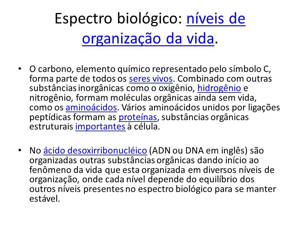 Espectro biológico: níveis de organização da vida.