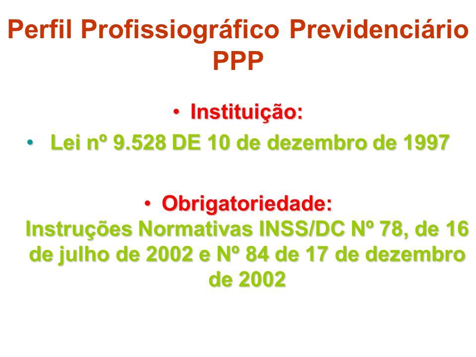 Perfil Profissiográfico Previdenciário PPP