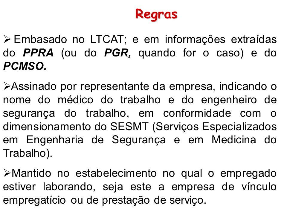 Regras Embasado no LTCAT; e em informações extraídas do PPRA (ou do PGR, quando for o caso) e do PCMSO.
