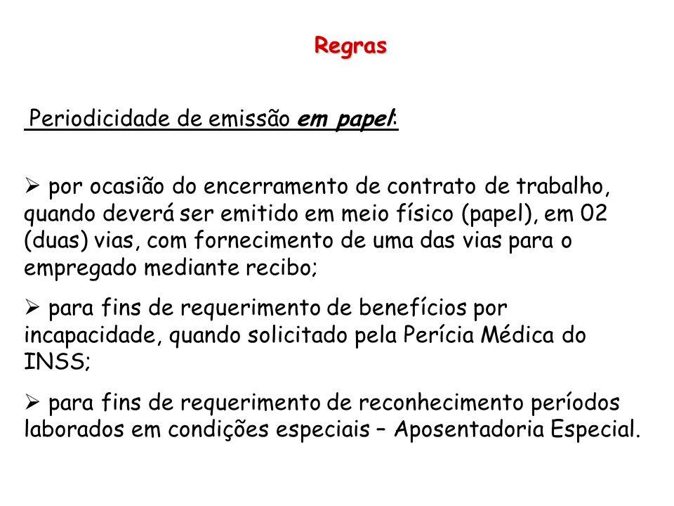 Regras Periodicidade de emissão em papel: